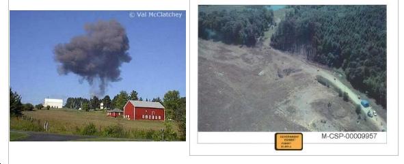A sinistra la foto dell'esplosione e a destra la foto del luogo interessato dalla deflagrazione
