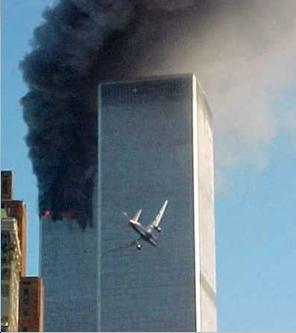 Le torri gemelle durante l'impatto con gli aerei