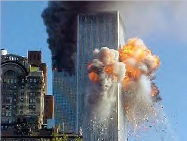 Una foto della massa infuocata che ha trovato sfogo all'esterno dei grattacieli dove c'è più ossigeno.