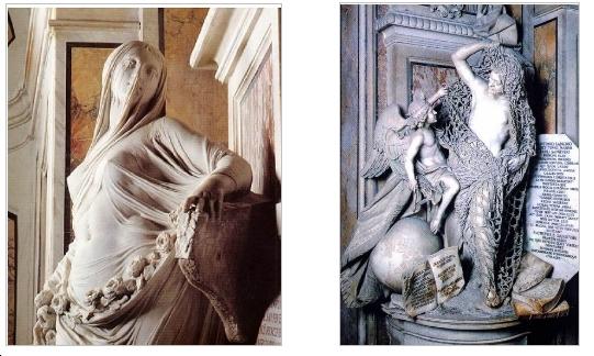 A sin. una eloquente immagine della statua della pudicizia mentre a destra quella del disinganno, da notare che la rete è completamente in pietra ed è talmente perfetta da apparire reale.
